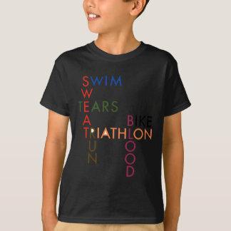 Camisetas Suor e rasgos do sangue do Triathlon