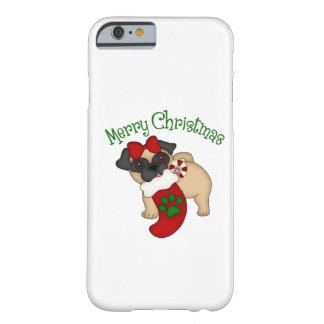 Camisetas temáticos do Natal do feriado do Pug Capa iPhone 6 Barely There