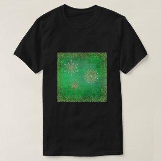 Camisetas Verde dos flocos de neve do Natal & brilho do ouro