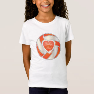 Camisetas Voleibol elegante da laranja do coração do