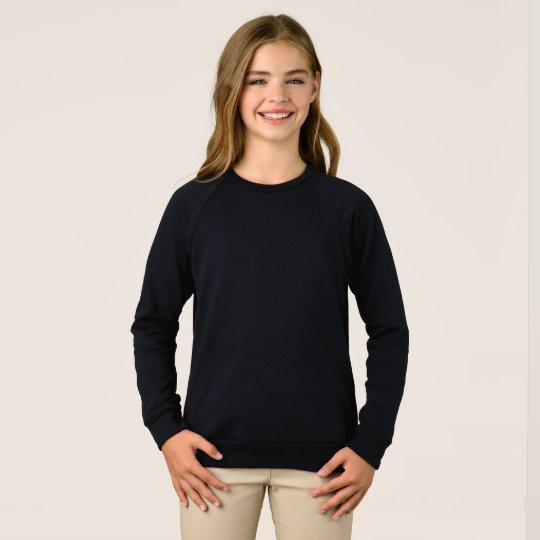 Moletom infantil feminino American Apparel mangas raglan, Preto