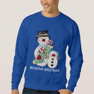 Camisola dos homens do feriado do boneco de neve moletom