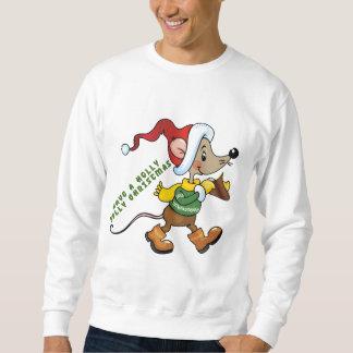 Camisola dos homens do feriado do rato do Natal Moletom