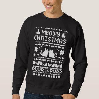 Camisola feia do gato do feriado do Natal do Meowy Moleton