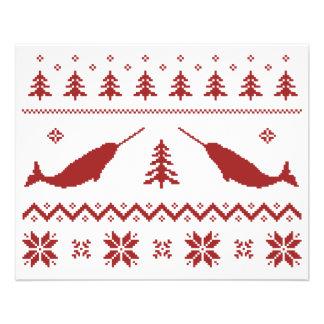 Camisola feia do Natal de Narwhal Panfleto Coloridos