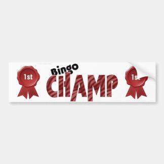 Campeão Bumpersticker do lugar do campeão do Bingo Adesivo Para Carro