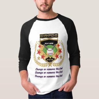 Campeão do softball Dianteiro-somente T-shirt