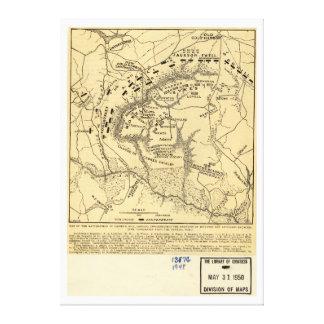 Campo de batalha do mapa da guerra 1862 civil do impressão em tela