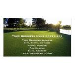 Campo de golfe verde no alvorecer cartoes de visita