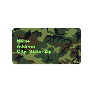 Camuflagem verde militar etiqueta de endereço