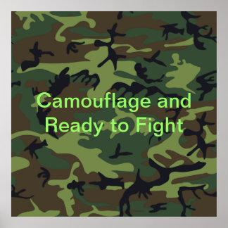 Camuflagem verde militar poster