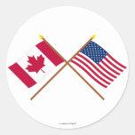 Canadá e bandeiras cruzadas os Estados Unidos Adesivos Em Formato Redondos