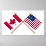 Canadá e bandeiras cruzadas os Estados Unidos Pôsteres