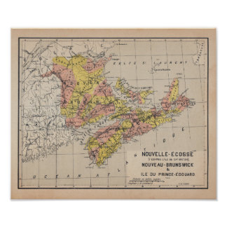 Canadian Maritimes 1920 French Antique Map Pôster