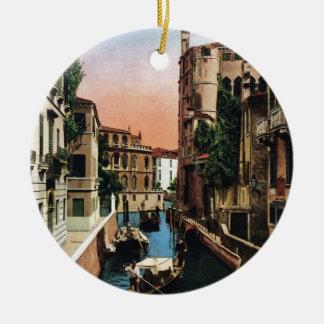 Canais de Veneza, imagem do vintage Ornamento De Cerâmica Redondo