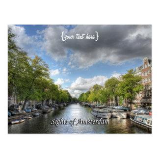 Canal de Wolvenstraat/Singel, vistas de Amsterdão Cartão Postal