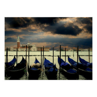Canal grande no poster da foto de Veneza