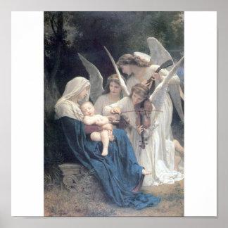Canção das belas artes de Bouguereau dos anjos Poster