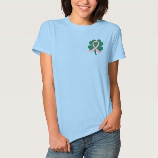 Cancro da mama bordado da fita do trevo da camiseta polo bordada feminina