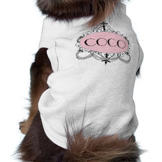 Candelabro chique preto cor-de-rosa camiseta de cã camisa sem mangas para cachorro