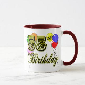 Caneca 55th celebração feliz do aniversário
