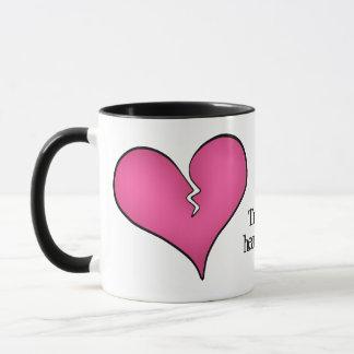 Caneca Anti dia dos namorados do coração cor-de-rosa