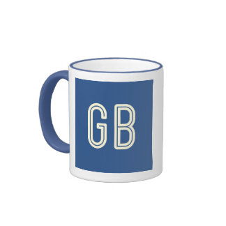 Caneca azul do anel do pequeno almoço do geek