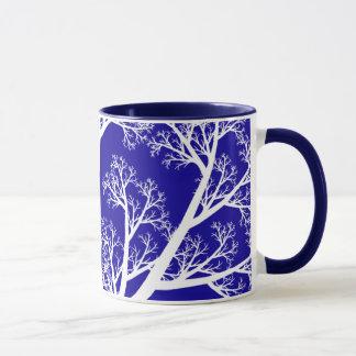 Caneca azul e branca da árvore da noite