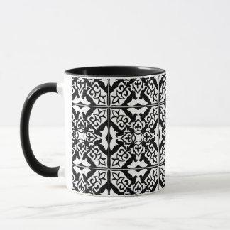 Caneca Azulejo marroquino - preto com fundo branco