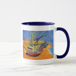 Caneca Barcos de Vincent van Gogh na praia