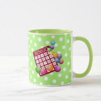 Caneca Bingo - cartão e marcadores coloridos do bingo