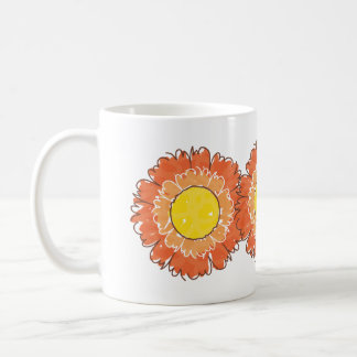 Caneca bonita das flores - laranja