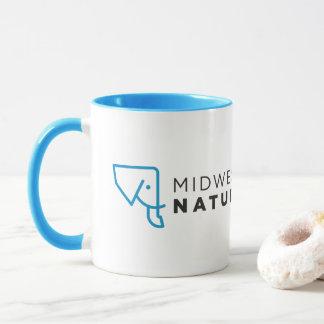Caneca branca azul do logotipo de MMNH
