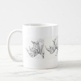 Caneca branca do rinoceronte