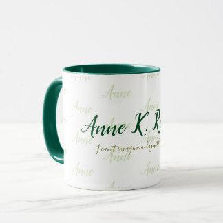 Caneca branco verde conhecido escrito à mão feminino à