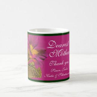 Caneca cor-de-rosa escura da mãe da arte floral do