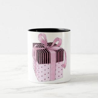 Caneca cor-de-rosa & preta do presente