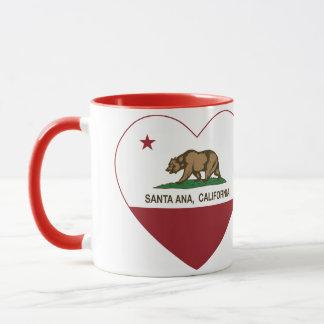 Caneca coração de Santa Ana da bandeira de Califórnia