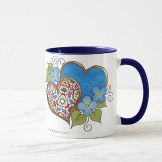 Caneca Corações do amor - cores preliminares com azul