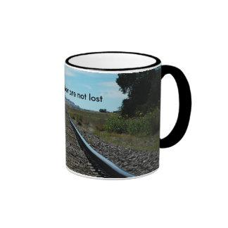 caneca das trilhas de estrada de ferro
