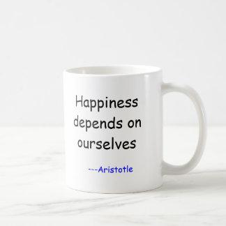 Caneca De Café A felicidade depende de nos, ---Aristotle