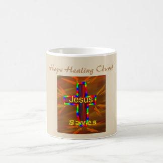 Caneca De Café A igreja cura Jesus da esperança salvar o copo da