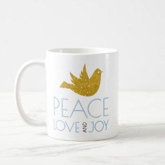 Caneca De Café A paz, amor, aguarela da alegria, ouro mergulhou