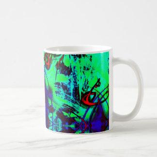 Caneca De Café Abstrato de néon do verde