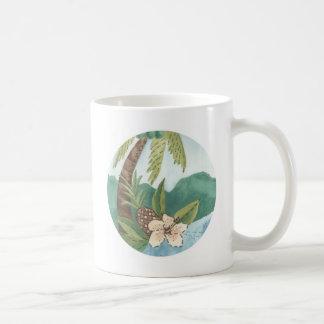 Caneca De Café Aloha coco, abacaxi, design do hibiscus