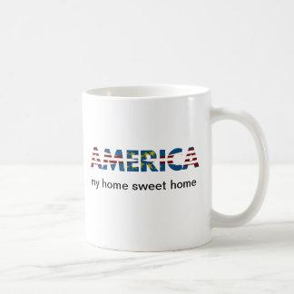 Caneca De Café América branca & azul vermelha