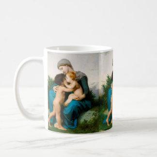 Caneca De Café Amor fraterno, mãe com as crianças por Bouguereau