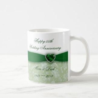 Caneca De Café Aniversário de casamento do damasco 55th