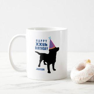 Caneca De Café Aniversário preto engraçado do costume do cão do