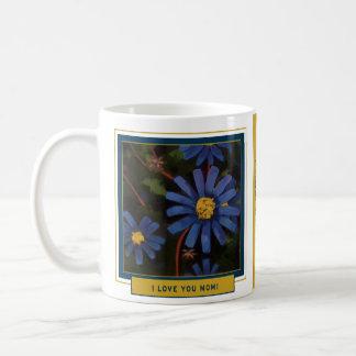 Caneca De Café Áster azul - você me ajudou a florescer - do filho